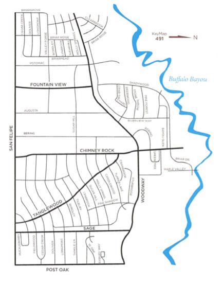 Map of Tanglewood area - Houston